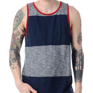 Vans Shirts - Vans JT Foil Navy Blue Stripe Tank Top